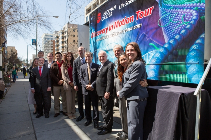 "GW Leaders tour the Beckman Coulter ""Discovery in Motion"" mobile lab during Research Days."