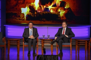 Frank Sesno chats with JD Vance during their fireside chat at the Opioid Forum held on November 1st