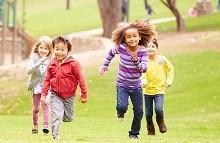 Kids running in a field
