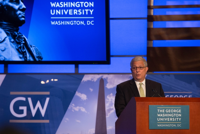 GW's Tom Russo presents opening remarks for GW/ICF's November 2015 event